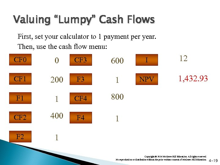 """Valuing """"Lumpy"""" Cash Flows First, set your calculator to 1 payment per year. Then,"""