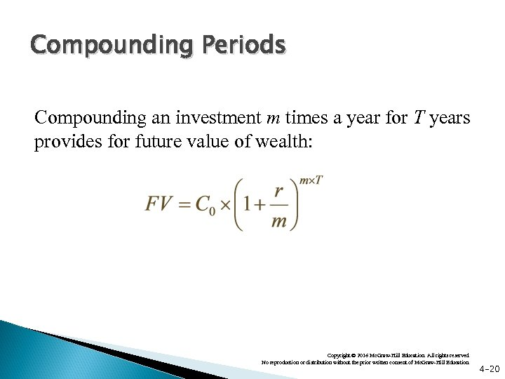 Compounding Periods Compounding an investment m times a year for T years provides for