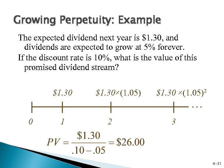 Growing Perpetuity: Example The expected dividend next year is $1. 30, and dividends are