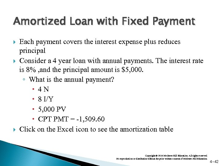 Amortized Loan with Fixed Payment Each payment covers the interest expense plus reduces principal