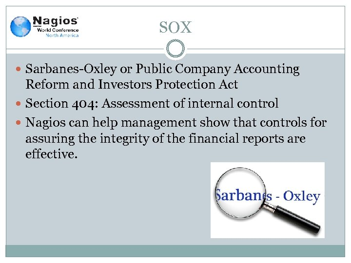 SOX Sarbanes-Oxley or Public Company Accounting Reform and Investors Protection Act Section 404: Assessment