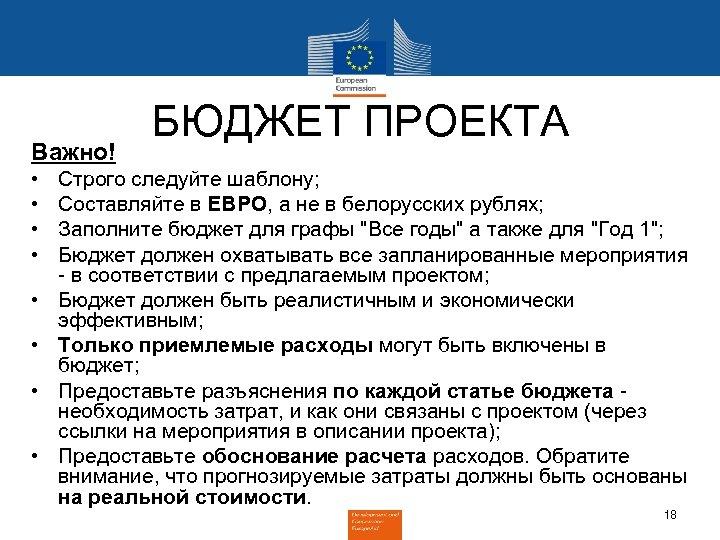 Важно! • • БЮДЖЕТ ПРОЕКТА Строго следуйте шаблону; Составляйте в ЕВРО, а не в