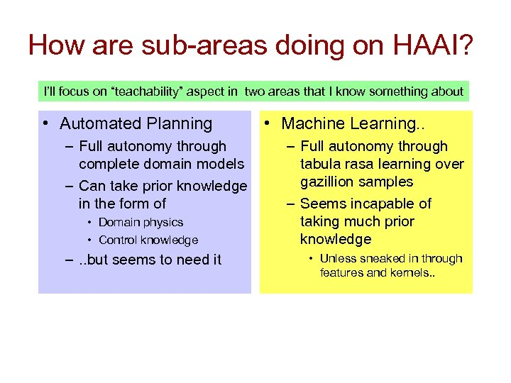 """How are sub-areas doing on HAAI? I'll focus on """"teachability"""" aspect in two areas"""