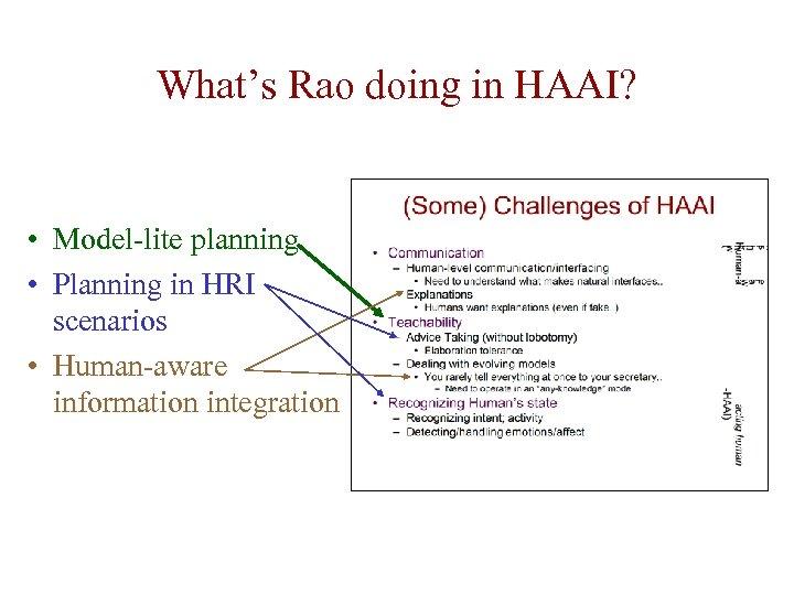 What's Rao doing in HAAI? • Model-lite planning • Planning in HRI scenarios •