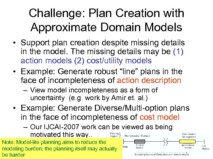Challenge: Plan Creation with Approximate Domain Models • Support plan creation despite missing details