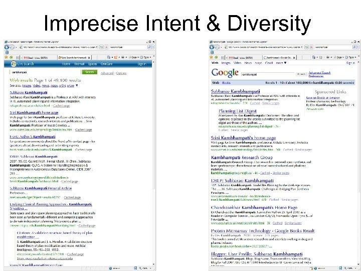 Imprecise Intent & Diversity