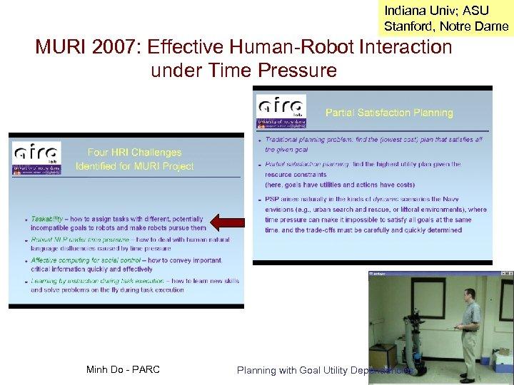 Indiana Univ; ASU Stanford, Notre Dame MURI 2007: Effective Human-Robot Interaction under Time Pressure