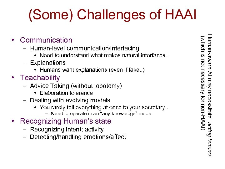 (Some) Challenges of HAAI – Human-level communication/interfacing • Need to understand what makes natural