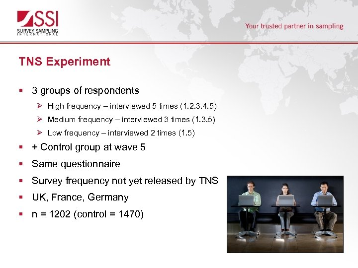 TNS Experiment § 3 groups of respondents Ø High frequency – interviewed 5 times