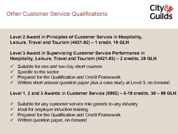 Other Customer Service Qualifications Level 2 Award in Principles of Customer Service in Hospitality,