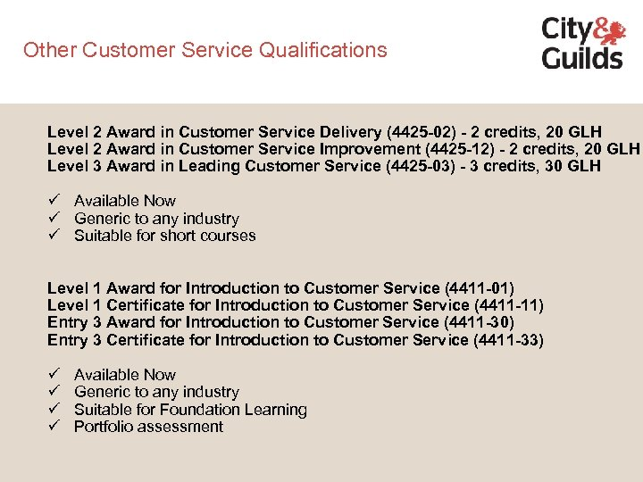 Other Customer Service Qualifications Level 2 Award in Customer Service Delivery (4425 -02) -