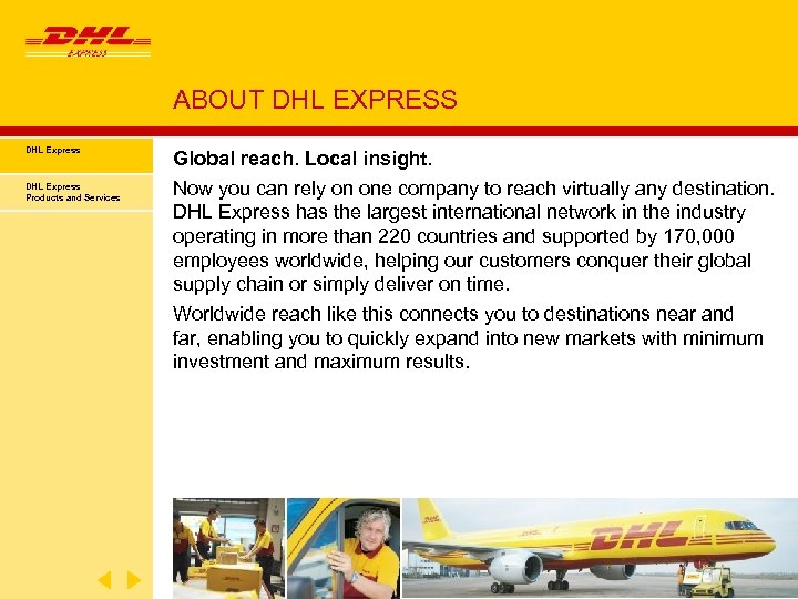 ABOUT DHL EXPRESS DHL Express Products and Services Global reach. Local insight. Now you