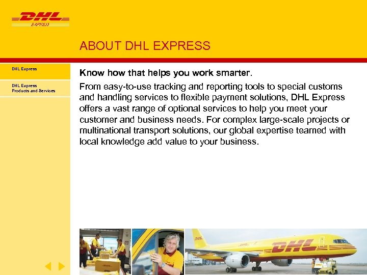 ABOUT DHL EXPRESS DHL Express Products and Services Know how that helps you work