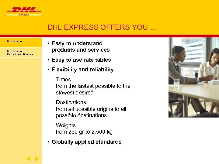 DHL EXPRESS OFFERS YOU … DHL Express Products and Services • Easy to understand