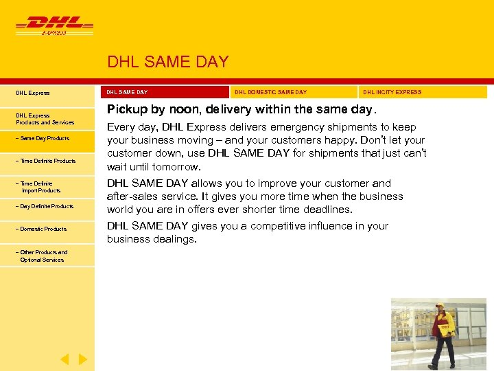 DHL SAME DAY DHL Express Products and Services − Same Day Products − Time