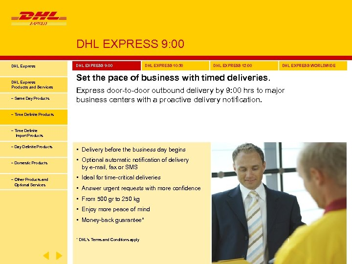 DHL EXPRESS 9: 00 DHL Express Products and Services − Same Day Products DHL