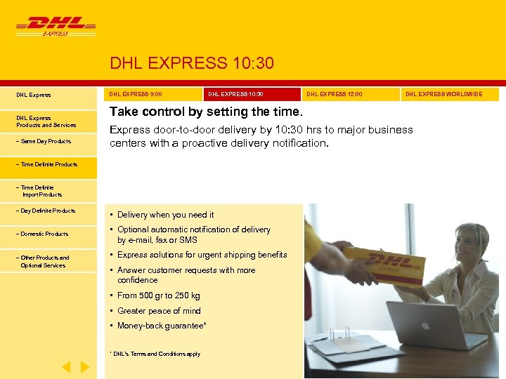 DHL EXPRESS 10: 30 DHL Express Products and Services − Same Day Products DHL