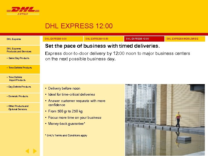 DHL EXPRESS 12: 00 DHL Express Products and Services − Same Day Products DHL