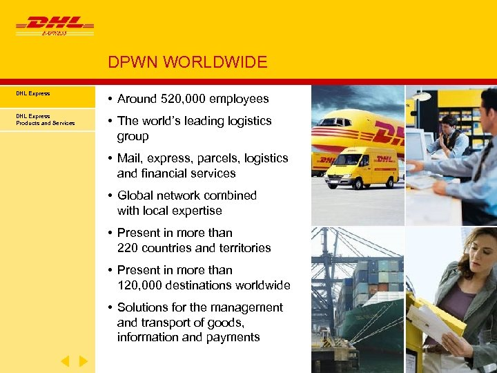 DPWN WORLDWIDE DHL Express • Around 520, 000 employees DHL Express Products and Services