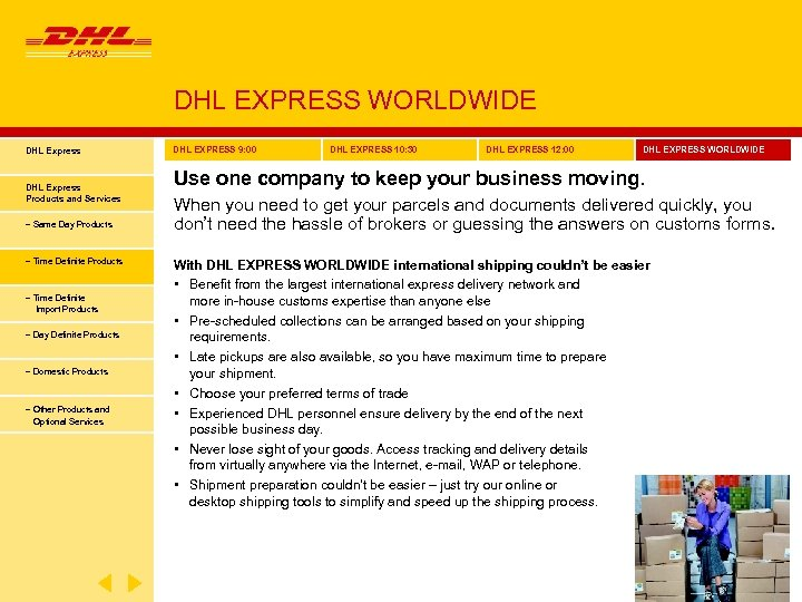 DHL EXPRESS WORLDWIDE DHL Express Products and Services − Same Day Products − Time
