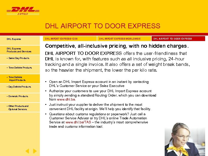 DHL AIRPORT TO DOOR EXPRESS DHL Express Products and Services − Same Day Products
