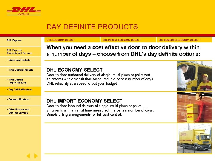 DAY DEFINITE PRODUCTS DHL Express DHL ECONOMY SELECT DHL IMPORT ECONOMY SELECT DHL Express