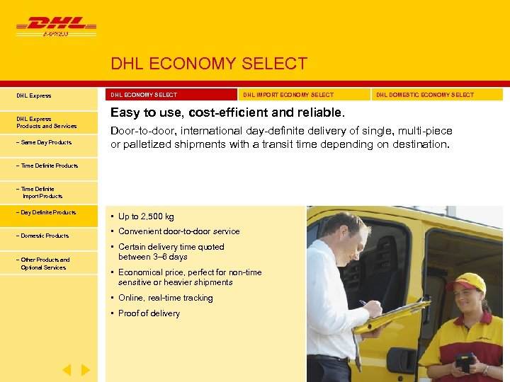 DHL ECONOMY SELECT DHL Express Products and Services − Same Day Products DHL ECONOMY