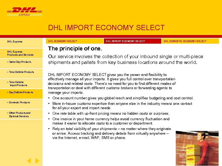 DHL IMPORT ECONOMY SELECT DHL Express Products and Services − Same Day Products −