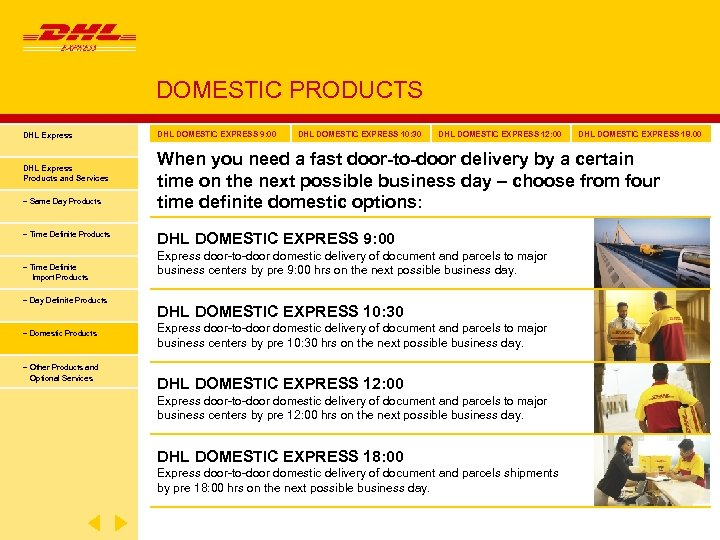 DOMESTIC PRODUCTS DHL Express Products and Services − Same Day Products − Time Definite