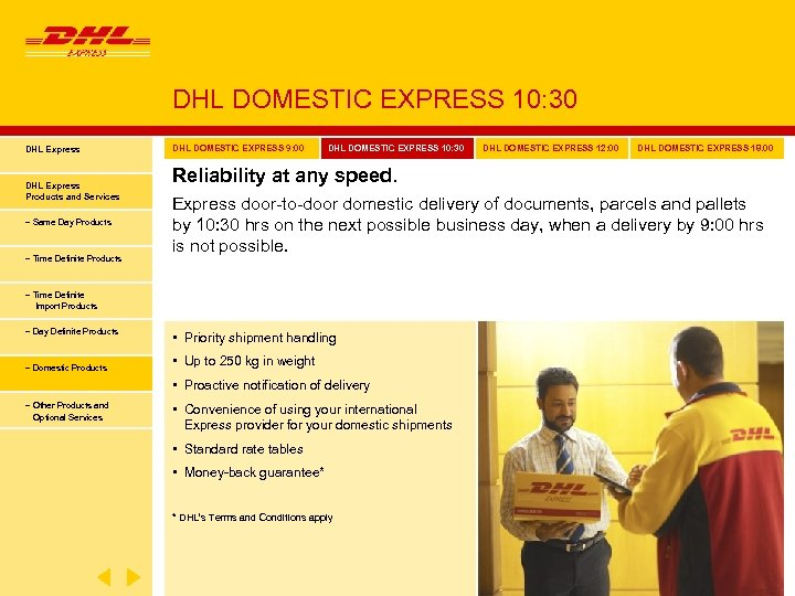 DHL DOMESTIC EXPRESS 10: 30 DHL Express Products and Services − Same Day Products