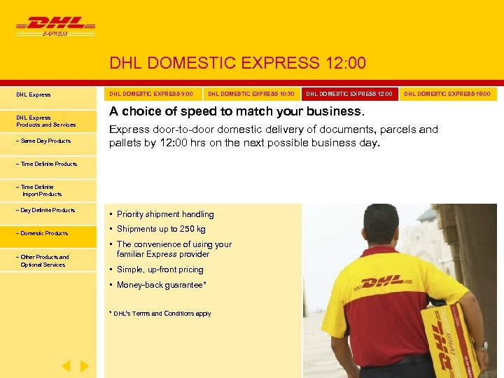 DHL DOMESTIC EXPRESS 12: 00 DHL Express Products and Services − Same Day Products