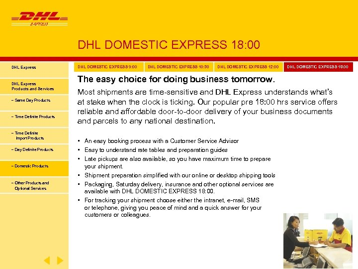 DHL DOMESTIC EXPRESS 18: 00 DHL Express Products and Services − Same Day Products