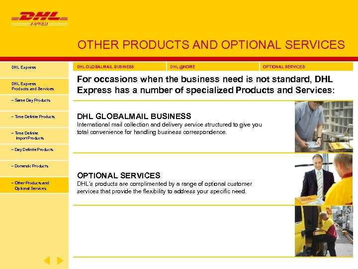 OTHER PRODUCTS AND OPTIONAL SERVICES DHL Express DHL GLOBALMAIL BUSINESS DHL @HOME OPTIONAL SERVICES