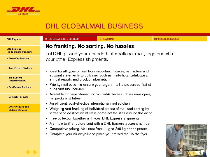 DHL GLOBALMAIL BUSINESS DHL Express Products and Services − Same Day Products − Time