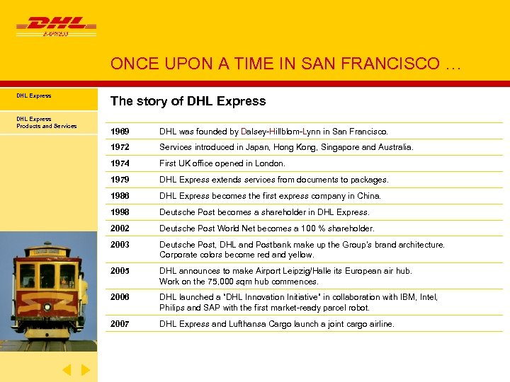ONCE UPON A TIME IN SAN FRANCISCO … DHL Express Products and Services The
