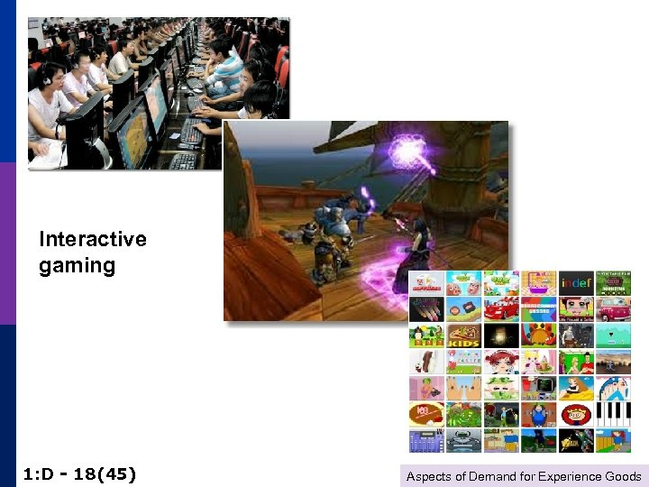 Interactive gaming 1: D - 18(45) Aspects of Demand for Experience Goods
