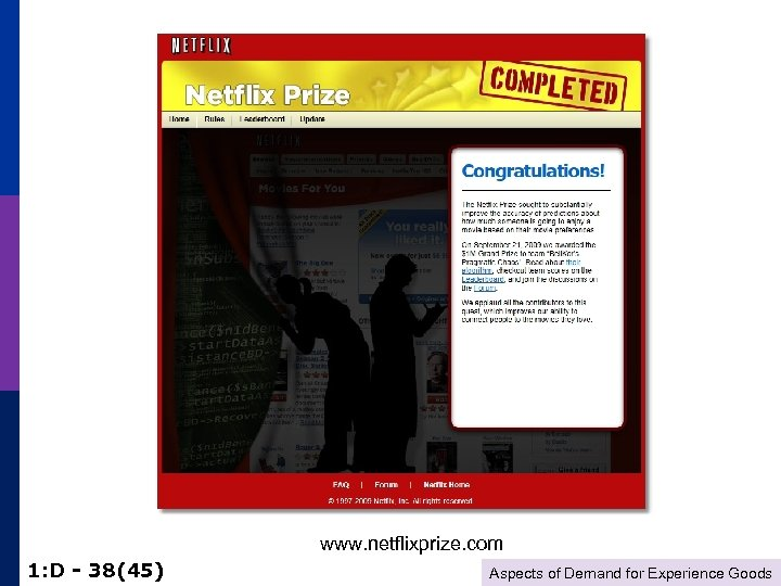 www. netflixprize. com 1: D - 38(45) Aspects of Demand for Experience Goods