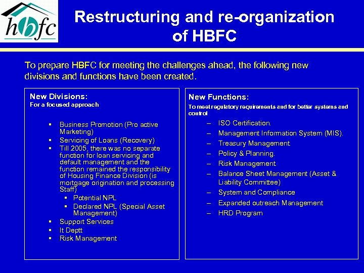 Restructuring and re-organization of HBFC To prepare HBFC for meeting the challenges ahead, the
