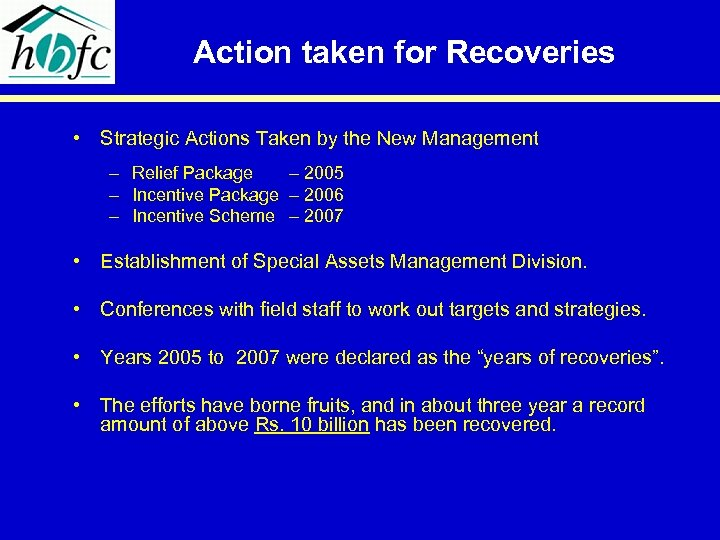 Action taken for Recoveries • Strategic Actions Taken by the New Management – Relief