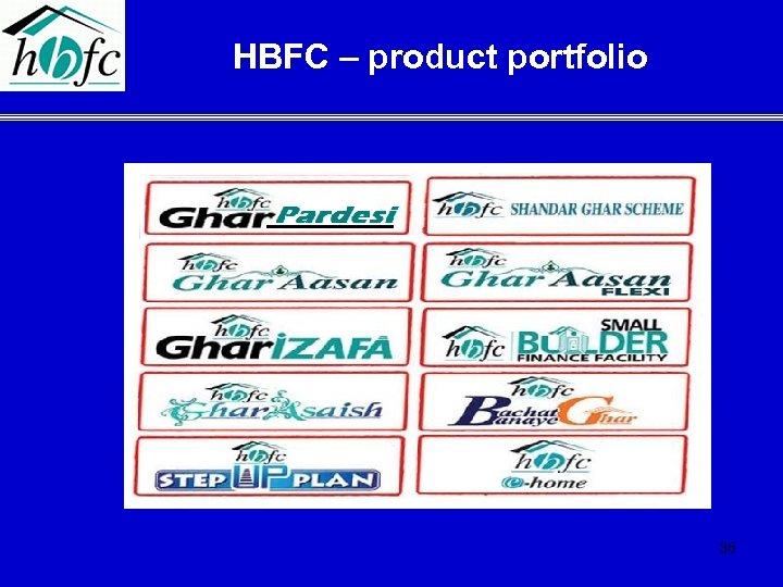 HBFC – product portfolio 36