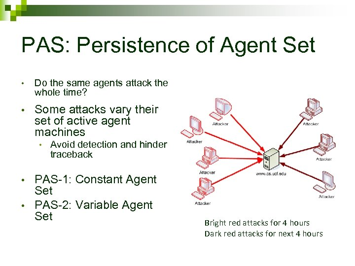 PAS: Persistence of Agent Set • Do the same agents attack the whole time?