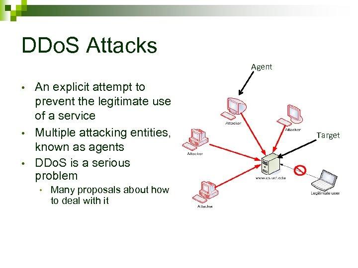 DDo. S Attacks Agent • • • An explicit attempt to prevent the legitimate