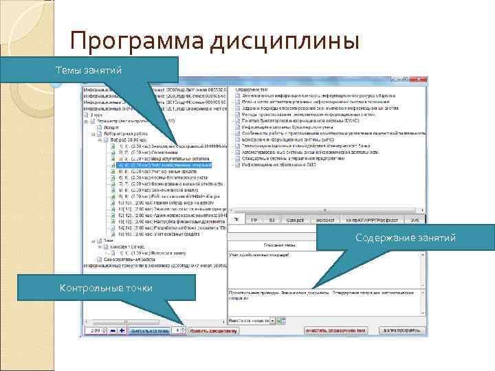Программа дисциплины Темы занятий Содержание занятий Контрольные точки