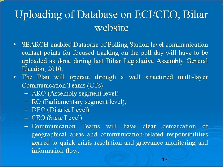 Uploading of Database on ECI/CEO, Bihar website • SEARCH enabled Database of Polling Station