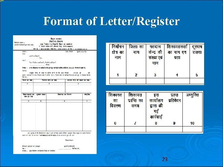 Format of Letter/Register 23