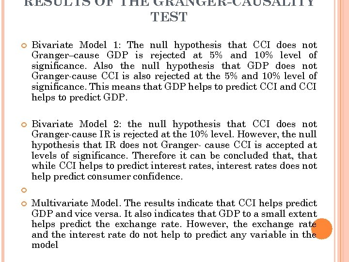RESULTS OF THE GRANGER-CAUSALITY TEST Bivariate Model 1: The null hypothesis that CCI does