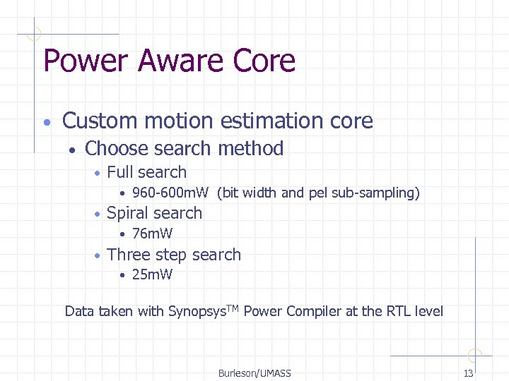 Power Aware Core • Custom motion estimation core • Choose search method • Full