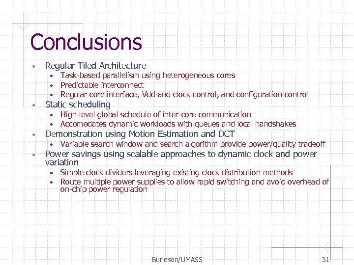 Conclusions • Regular Tiled Architecture • • Static scheduling • • • High-level global