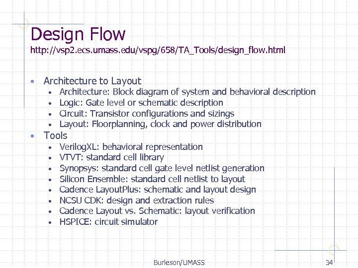 Design Flow http: //vsp 2. ecs. umass. edu/vspg/658/TA_Tools/design_flow. html • Architecture to Layout •