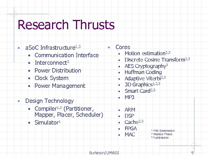 Research Thrusts • • a. So. C Infrastructure 1, 3 • Communication Interface •